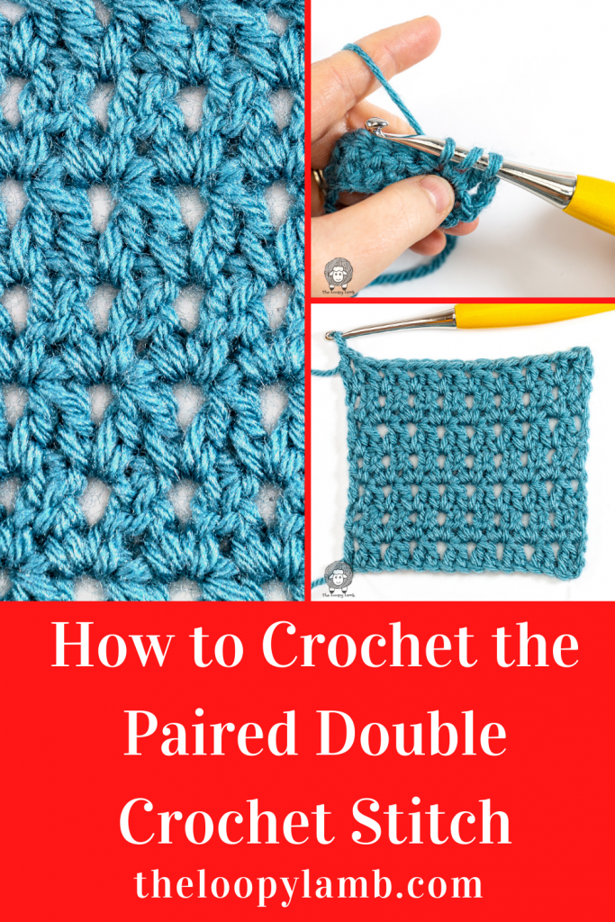Collage of the steps of this how to crochet the paired double crochet stitch tutorial