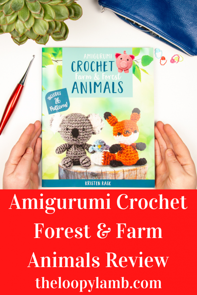 Front cover of Amigurumi Crochet: Farm & Forest Animals in a flat lay with crochet tools