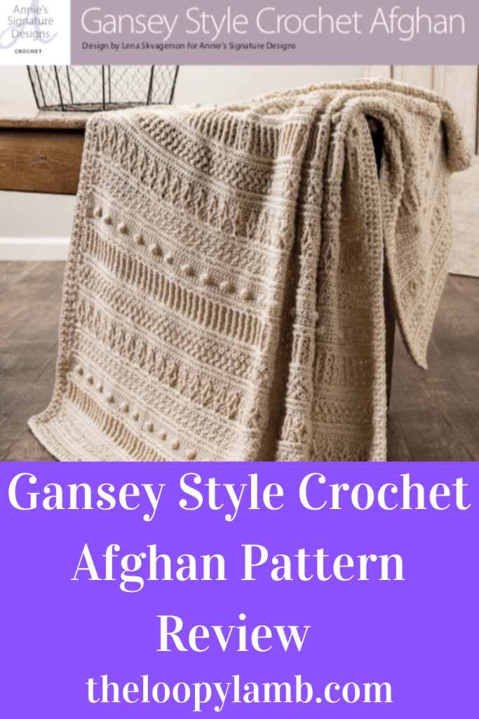 Gansey Style Crochet Afghan hanging over the edge of a table