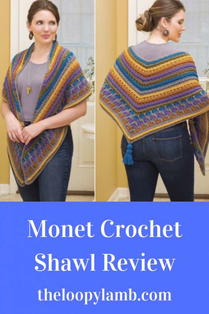 Woman modelling the monet crochet shawl made with the pattern being reviewed