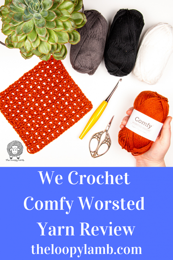 Comfy Worsted Yarn in a flat lay with crochet hook and accessories