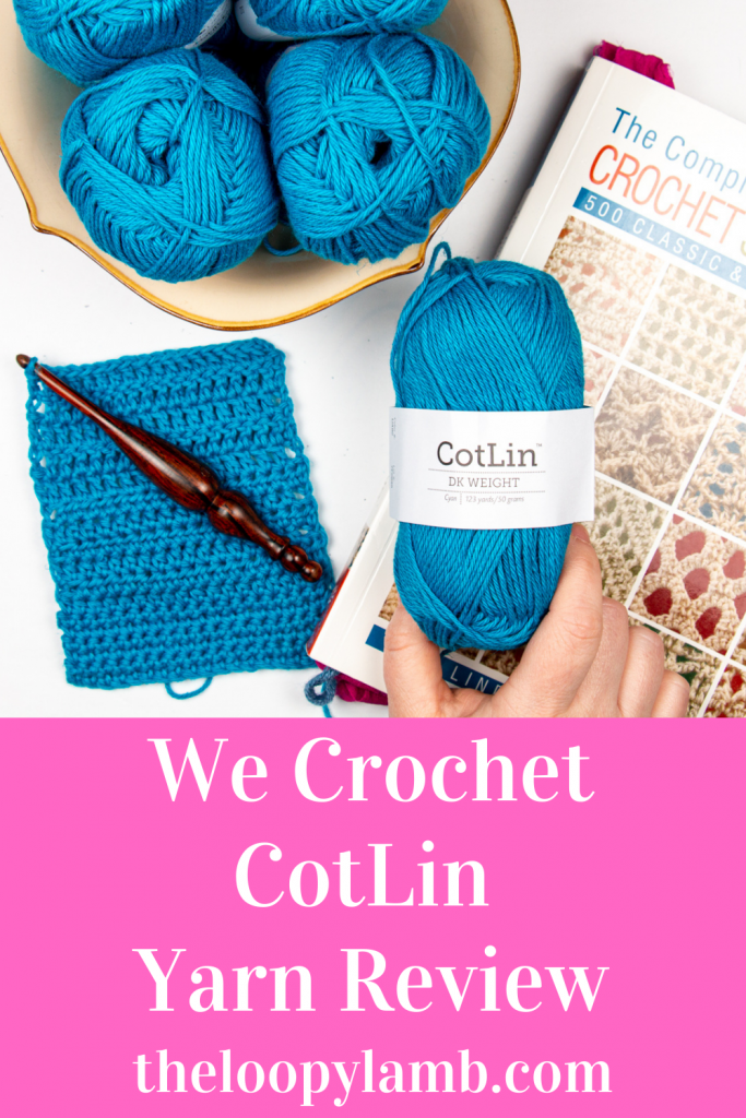 Hand holding a ball of We Crochet CotLin yarn with a crochet swatch, word overly indicating a yarn review