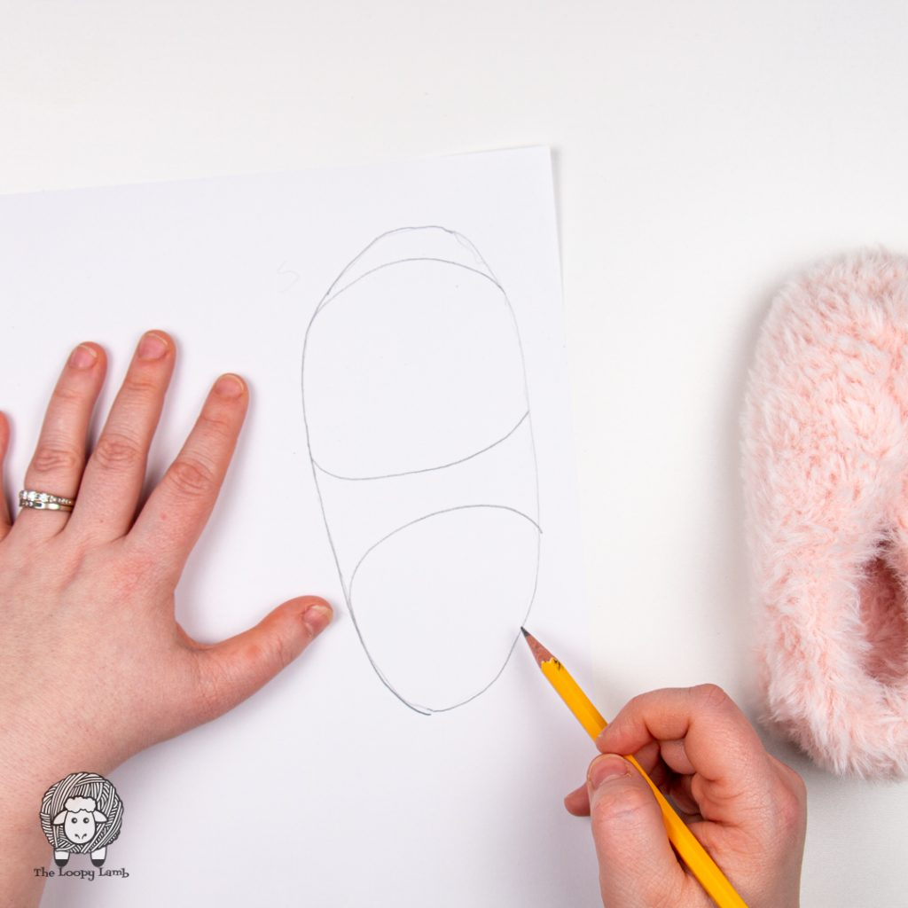 illustration showing how to make your own sole template for handmade slippers