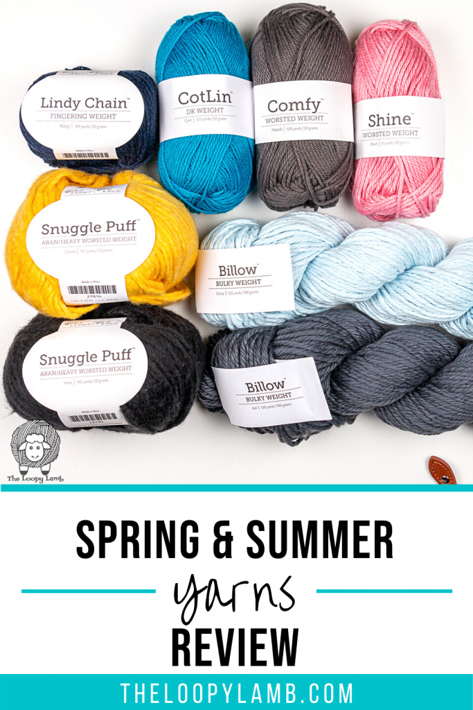 Collage of yarn with text indicating Spring and summer yarns review of yarns from We Crochet