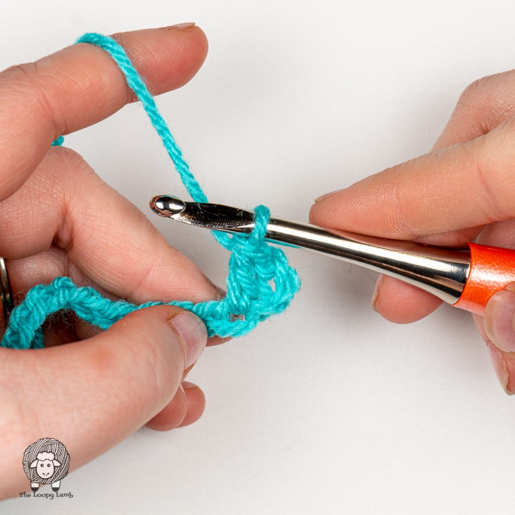 Double crochet worked in the 4th chain from the hook