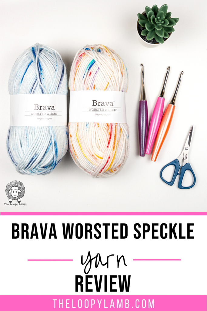Two balls of Brava Worsted Speckle Yarn in a flay lay with text indicating a yarn review
