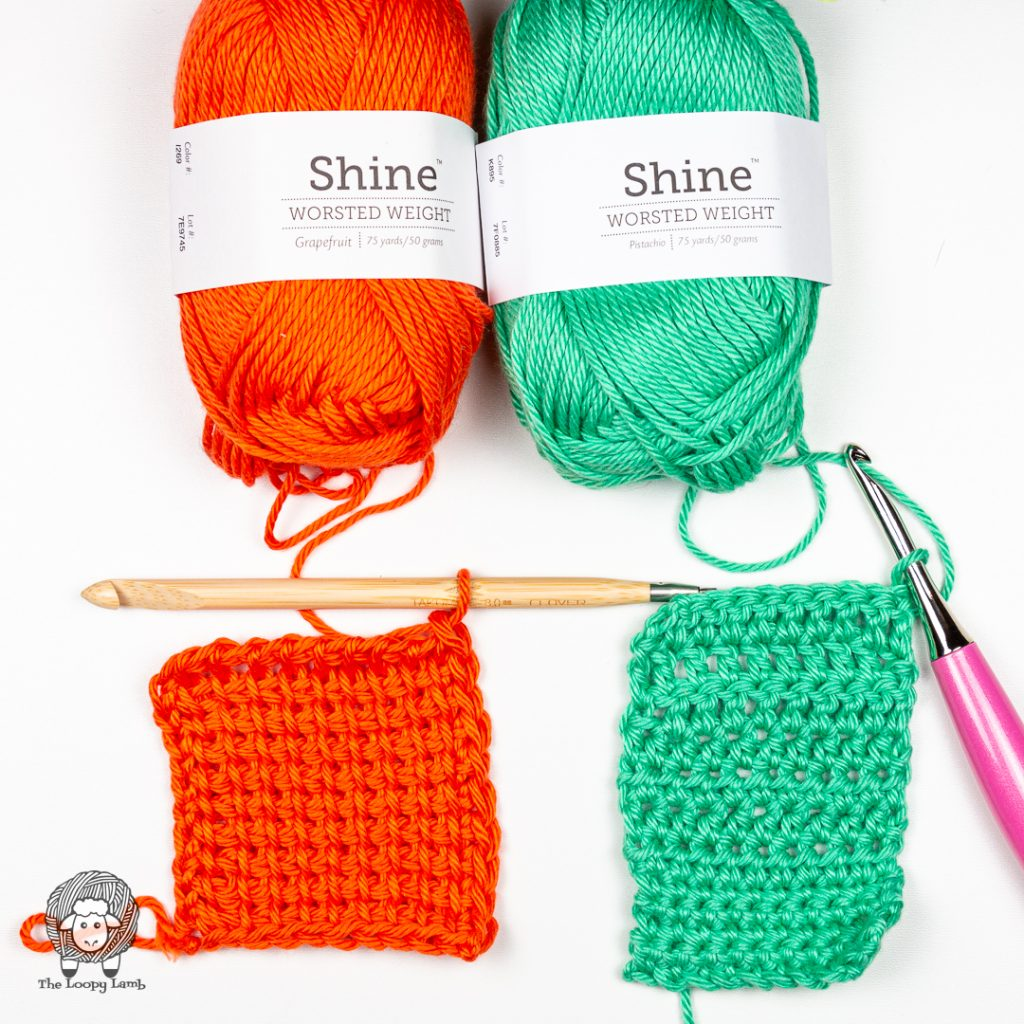 two crochet swatches done with the spring & summer yarn being reviewed.