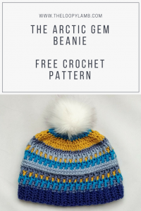Free Crochet Hat Pattern - Arctic Gem Beanie. Featuring Caron X Pantone yarn in Peacock Blue. This hat is a fun and colourful addition to your winter wardrobe. Available at The Loopy Lamb Blog