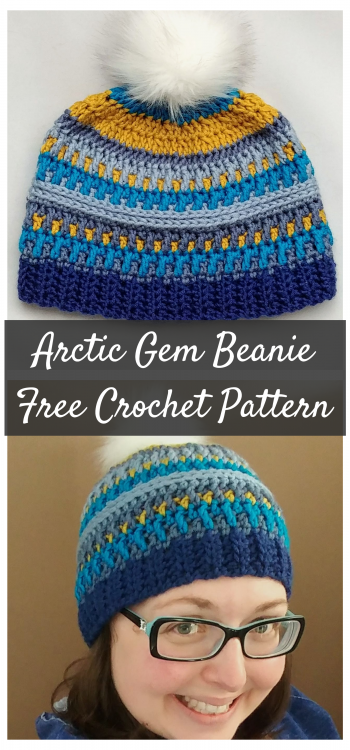 Free Crochet Hat Pattern - The Arctic Gem Beanie. Using Caron X Pantone yarn, this hat is colourful and full of texture! Available at The Loopy Lamb Blog